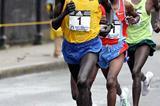 Robert Kipkoech Cheruiyot ahead of James Kwambai and Stephen Kiogora - Boston Marathon (Victah Sailer)