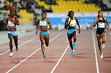 Allyson Felix (far right) and Amantle Montsho (far left) battle for victory in the 400m (Jiro Mochizuki)
