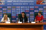 IAAF Ambassador Press Conference with Svetlana Masterkova, Ryan Wilson and Steve Cram at the IAAF World Athletics Championships Moscow 2013 (Getty Images)