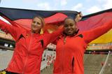 Anna Ruh (L) and Shanice Craft of Germany pose after winning gold and silver medal on the Women's Discus Throw Final on day six of the 14th IAAF World Junior Championships in Barcelona on 15 July 2012 (Getty Images)