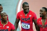 Jeffery Demps of the United States, Darvis Patton of the United States, Trell Kimmons of the United States and Justin Gatlin of the United States react after the Men's 4 x 100m Relay Round 1 heats on Day 14 of the London 2012 Olympic Games at Olympic Stadium on August 10, 2012 (Getty Images)