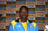 Shaunae Miller of the Bahamas at the Lille pre-event Press Conference (Bob Ramsak)