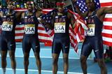 (L-R) Gil Roberts, Manteo Mitchell, Frankie Wright and Calvin Smith of the United States celebrate as they win gold in the Men's 4x400 Metres Final during day three - WIC Istanbul (Getty Images)