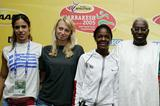 President Lamine Diack with Youth athletes Stefanidi, Ryzich and Collins (Getty Images)