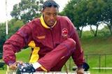 Godfrey Khotso Mokoena stretching before the competition in Johannesburg (Mark Ouma)