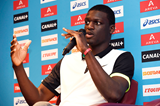 Kirani James at the press conference for the IAAF Diamond League meeting in Paris (Jean-Marie Hervio)