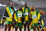 Asafa Powell, Nesta Carter, Usain Bolt and Michael Frater - the Jamaican team who smashed the 4x100m world record (Getty Images)