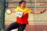 Xu Shaoyang takes the win in the women's Discus Throw at the Asian Champs in Amman (Ayyob Abdulla)