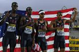 Quincy Downing,  Aldrich Bailey, Chidi Okezie and Arman Hallof USA celebrate after winning the Men's 400 metres Relay Final on day six of the 14th IAAF World Junior Championships in Barcelona on 15 July 2012 (Getty Images)