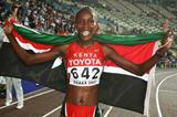 Janeth Jepkosgei of Kenya celebrates winning the women's 800m final (Getty Images)