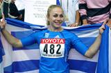 Mirela Manjani of Greece celebrates winning the javelin gold medal (Getty Images)