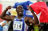A delighted Ladji Doucouré of France celebrates winning gold in the 110m Hurdles (Getty Images)