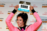 Jenn Suhr at the press conference ahead of the IAAF Diamond League meeting in New York (Victah Sailer)