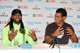 Jason Richardson and Ryan Wilson at a press conference ahead of the 2013 Diamond League in Lausanne (Gladys Chai)
