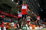 Abubaker Kaki of Sudan wins a near gun to tape victory in the men's 800m to retain his World Indoor title (Getty Images)