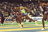 Bruny Surin wins the 1993 world indoor 60m title from Frankie Fredericks and Talal Mansour (Getty Images)