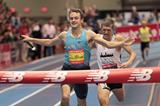 Erik Sowinski holds off Mike Rutt to get the 4x800m world indoor record at the 2014 New Balance Indoor Games in Boston  (Andrew McClanahan / Photorun)