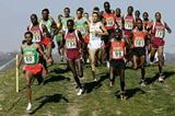 Bekele leads the pack on the first circuit in the short race (Getty Images)
