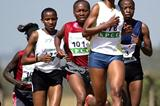 Jane Mwikali leads the women's 8km field at the Kenya Prisons National Cross Country Championships at Ruiru on Saturday. Mwikali won the race (MOHAMMED AMIN/ DAILY NATION)