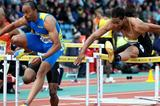 Aries Merritt flying through the damp air in Crystal Palace to 12.93sec victory (Mark Shearman )