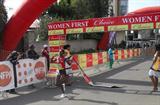 Sule Utura breaks the tape to take victory in the 2010 Choice Women First 5km (Bizuayehu Wagaw)