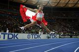 Priscilla Lopes-Schliep of Canada celebrates winning the silver medal in the women's 100m hurdles final in Berlin (Getty Images)