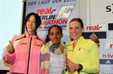 Morimoto, Bezunesh and Mockenhaupt at the real_Berlin Marathon press conference, Thu 23 Sep (Victah Sailer)