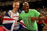 World long jump champion Greg Rutherford with world record-holder Mike Powell at the IAAF World Championships, Beijing 2015 (Getty Images)