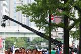 Athletes led by Yumiko Hara of Japan and Nina Rillstone of New Zealand make their way through the streets of Osaka while competing in the Women's Marathon (Bongarts/Getty Images)