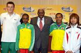 IAAF President Lamine Diack is flanked by the athletes - IAAF Press Conference (Getty Images)