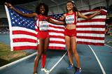 Brandee Johnson and Sydney McLaughlin after the girls' 400m hurdles at the IAAF World Youth Championships, Cali 2015 (Getty Images)