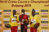 Senior women's medallists Agnes Tirop, Senbere Teferi and Netsanet Gudeta at the IAAF World Cross Country Championships, Guiyang 2015 (Getty Images)