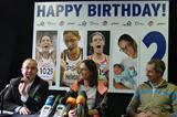 Bob Verbeeck (CEO Golazo Sports, sponsor), Tia Hellebaut, and Wim Van De Ven (coach) (Ivo Hendrix)