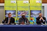 Communications Director Nick Davies, President Lamine Diack, General Secretary Pierre Weiss (Chris Turner IAAF)