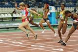Yuliya Nesterenko of Belarus wins the 100m final (Getty Images)
