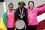 Priscah Jeptoo, Bizunesh Deba and Jelena Prokopcuka, the top three finishers at the 2013 New York Marathon (Getty Images)