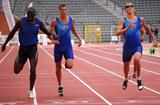 Brussels on 12 July 2008, won by Kevin Borlée (45.21) at right, ahead of Leslie Djhone, left (45.35) and Jonathan Borlée (45.38), centre (Remi Van Ophem)