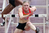 Sally Pearson on her way to winning the 100m hurdles in Yokohama (Getty Images)