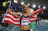 Jennifer Barringer Simpson of United States celebrates after claiming gold in the women's 1500 metres final  (Getty Images)