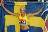 Carolina Kluft celebrates winning the women's heptathlon (Getty Images)