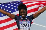 Morgan Snow of United States celebrates winning the Women's 100 metres hurdles Final on day six of the 14th IAAF World Junior Championships in Barcelona on 15 July 2012 (Getty Images)