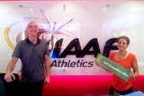 Celine Bianchi and Carlo de Angeli from the IAAF competitions department ()