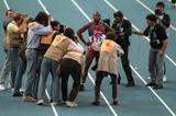 Bruny Surin after winning the 60m at the 1995 IAAF World Indoor Championships (Getty Images)