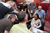 Reporters talk to Allyson Felix ahead of the IAAF World Championships (Getty Images)