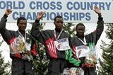 (L-R) Dominic Kirui, William Sigei and Ismael Kirui stand on the winners' podium after the Senior Mens race 1993 IAAF World Cross Country Championships, Amorebieta, Spain. (Getty Images)