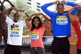 Birmingham: Farah, Fraser-Pryce, Merritt and Jeter pose doing the 'Mobot', next to a whicker statute the Mobot pose (Jean-Pierre Durand)