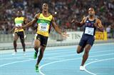 Yohan Blake celebrates winning the men's 100m final in Daegu (Getty Images)