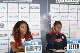 Shelly-Ann Fraser-Pryce and Carmelita Jeter at the Monaco Diamond League press conference (Philippe Fitte)