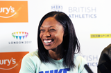 Allyson Felix at the press conference for the IAAF Diamond League meeting in Birmingham (Jean-Pierre Durand)
