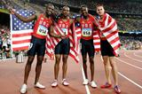 The winning US relay team: LaShawn Merritt, Angelo Taylor, David Neville and Jeremy Wariner (Getty Images)